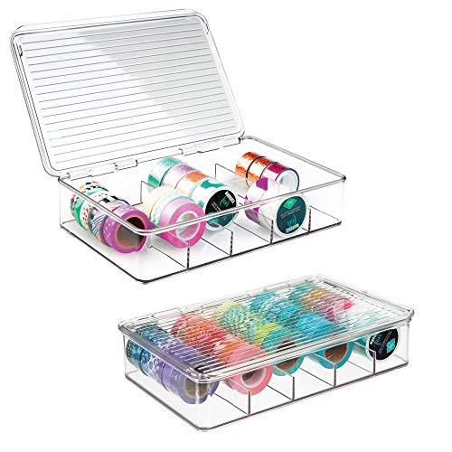 mDesign Aufbewahrungsbox für Bastelbedarf - toller Bastel Organizer mit 5 Fächern - perfekt für Bastelmaterial, wie Glasperlen, Moosgummi und Stoffbänder - durchsichtig - 2er-Set -