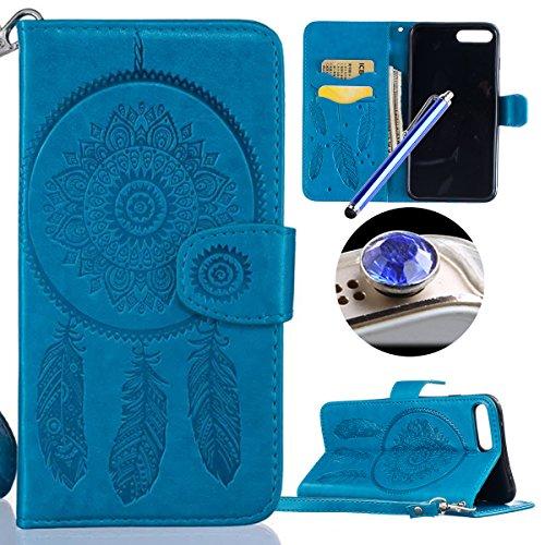 Etsue [9 Kartenfächer] Brieftasche Hülle für iPhone 7 Plus (5.5 Zoll) 2016 Blumen Lederhülle Ledertasche Handyhülle[Lanyard], Mädchen Muster Prägung Flip Wallet Leder Schutzhülle Retro Handy Tasche Ca Traumfänger,Blau