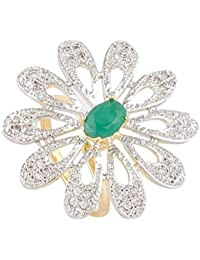 SKN Silver And Golden American Diamond Cocktail Party Ring For Women & Girls (SKN-1446A)