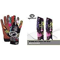 Optimum Junior Velocity Rugby Gloves, Street II, 2X-Small (SB) with Optimum Men's Fusion Shin Guard, Multicoloured, Large