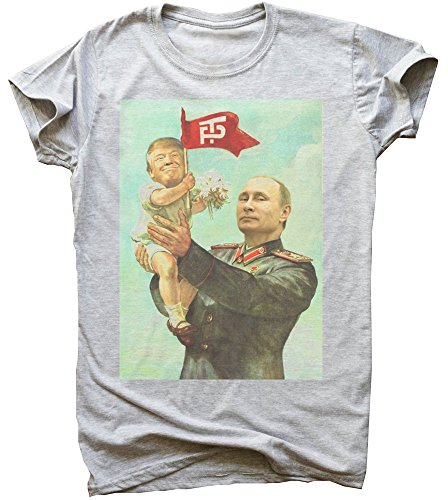 Trump And Putin Friendship Soviet Style Poster Men's Männer T-Shirt Extra Large