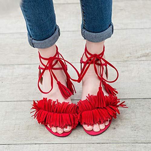 XHH Sandalette Sandalen Frauen Sommer Lace Up Sandalen Dicke Absätze Fringe Summer Beach Sandalen Sommer -
