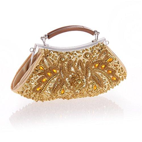 ACVIP Donna Borsetta Perline Luminose su Due Lati Oro
