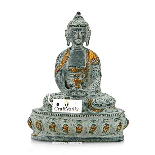 CraftVatika acabado antiguo latón Dharmachakra Buda meditando Pose figura decorativa