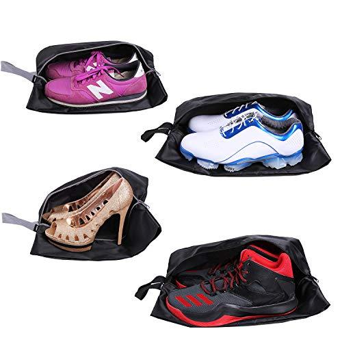 YAMIU Reisetaschen, 4 Stück, wasserdicht, Nylon, mit Reißverschluss, für Damen und Herren (schwarz)