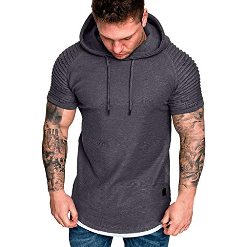 MRULIC Herren Sport-Shirt mit Kapuze Slim Fit Lässig Drapierungsmuster Große Kurzarm-Kapuzenshirt Tops Sweatshirt(Grau,XL) -