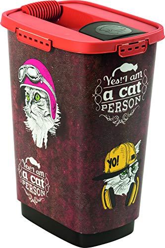 Rotho 4001910532Caja para Comida para Animales de plástico (PP) con diseño de Gato-Cody trockenfutter, 25L, M, marrón/Naranja