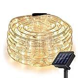 Nurkoo Solar Lichterschlauch 10m 100er LED Lichter mit 8 Modi Innen und Außen Lauflichter für Saal, Garten, Weihnachten, Hochzeit, Party - Warmweiß