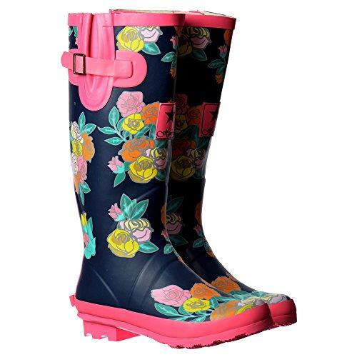 Onlineshoe Damen Regen Stiefel Dunkelblau / Pink Floral