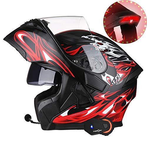 DBY Boy 10-Farben Bluetooth Sturzhelm-Motorrad DOT Zertifiziert mit LED-Sicherheits-Rücklicht, Klapphelm, 1000 Meter 6-Personen Intercom (54-64CM),BlackRed,XL