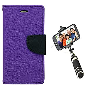 Aart Fancy Diary Card Wallet Flip Case Back Cover For Mircomax A110 - (Purple) + Mini Aux Wired Fashionable Selfie Stick Compatible for all Mobiles Phones By Aart Store