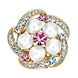 Cosanter Brooches Pins Elegant Hollow Rhinestone Noble Jewelry Brooch for Wedding Prom (Colourful flower)