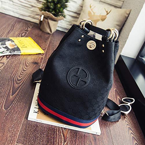 LFGCL Taschen womenShoulder Tasche Schulter Diagonale Canvas Tasche Frau Eimer alte Blume Rucksack, schwarz