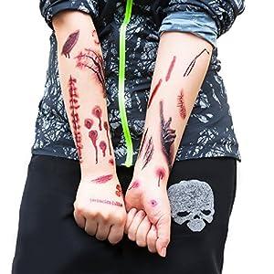 Oblique Unique Tattoos Narben Wunden Horror Ritzen Helloween - 40 realistisch Aussehende Motive