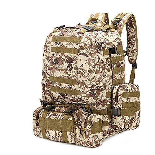 Borse a tracolla per gli uomini della outdoor alpinismo sacchetti combinazione multifunzionale camouflage zaino borsa per computer 50*37*21cm, nero modello python Deserto