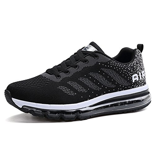 BETY Men Women Shock Absorbing Air Running Shoes Trainers For Multi Sport Athletic Jogging Fitness Black White 36