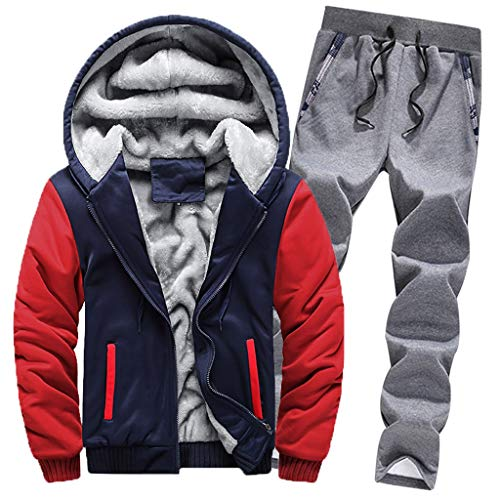 (Amphia - Herren Mantel + Hosenanzug aus Baumwolle - Herren Hoodie Winter Warm Fleece Zipper Sweater Jacke Outwear Mantel Top Schläuche Sets)