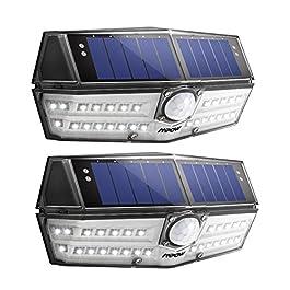 [2 Pezzi] 140 LED Luci Solari LED Esterno, MpowLuce Solare Sensore con Movimento Esterna 3 Modalità di Illuminazione, Impermeabile IPX7, 270ºilluminare Lampada Solare per Giardino