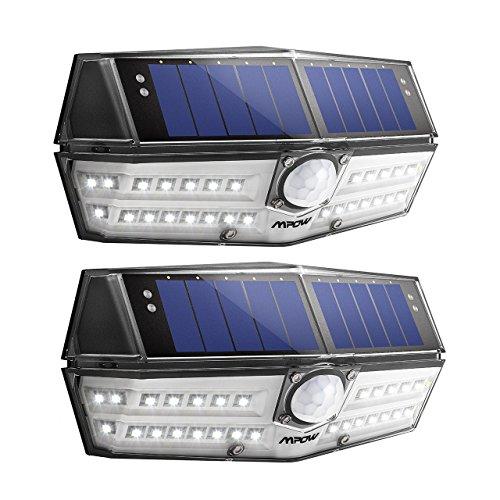 Mpow [2 Pezzi Tipo Nouvo 30 LED Luce Solare Impermeabile IP67, Lampada Solare con Sensore di Movimento, Super SunPower Pannello Solare, Grande Luce Solare Esterna per Giardino/Cortile/Garage