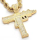 Men's New Gold Plated Sub Uzi Gun Iced Out Pendant Diamond Cut Rope Chain Necklace
