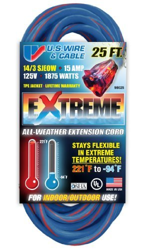 US Wire 98025 14/3 25-Foot SJEOW TPE Cold Weather Extension Cord Blue with Lighted Plug by U.S. Wire & Cable -