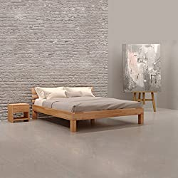 Krokwood Julia Massivholzbett in Buche 140 x 200 cm FSC 100% Massiv Einzelbett, Natur geölt Buchebett, billig Holzbett mit Kopfteil, massivholz Bett vom Hersteller und kostenlose Lieferung