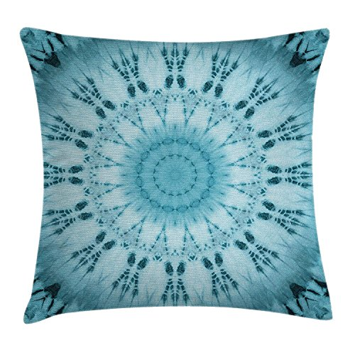 VVIANS Tie Dye Decor Throw Pillow Cushion Cover by, Circular Life of Flower Power Pattern with Esoteric Influences Kitsch Vintage Print, Decorative Square Accent Pillow Case, 18 X 18 Inches, Teal - Cotton Candy Tie Dye