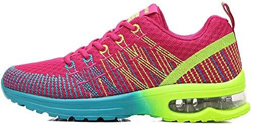 Zapatos de Running para Hombre Mujer Zapatillas Deportivo Outdoor Calzado Asfalto Sneakers Negro Rojo...