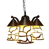 Pointhx Americano Semplicità Impermeabile Lampada a sospensione per esterni Antiquariato in alluminio Lampada a sospensione a LED Lampada a sospensione Lampadario Giardino Patio Decorazione balcone Apparecchi di illuminazione a soffitto per esterni (E27 * 3)
