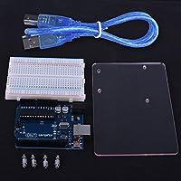 Kit 4 in 1 per ARDUINO Kuman K68 UNO R3 Scheda ATmega328P + R3 Base piatta trasparente in acrilico + Breadboard e cavo USB - Compatibile con ONU R3 2560 nano Robot update