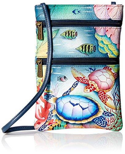 Anuschka Damen Women's Leather Hand Painted Double Zip Travel Crossbody Bag Umhängetasche, Handtasche, Ocean Treasures, Einheitsgröße
