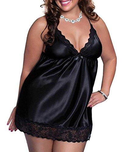 Maid Sex-outfit (Alove Damen Baby Doll Gr. xxxxl, Schwarz - Schwarz)