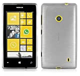 Cadorabo - Etui Housse Gel (silicone) pour Nokia Lumia 520 Design: METAL BROSSÉ (brushed cover) - Etui Coque Case Cover Bumper en ARGENT
