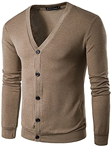Whatlees Casual Casual Contraste Button Down Zip up Slim Cardigan B427-Brown-XXL