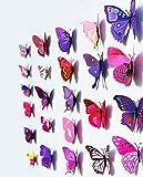 Wicemoon 12PCS als 1 Satz, PVC 3D Dreidimensionale Farben Dekoration Schmetterlings wandaufkleber,Größe: 12CM(2PCS),10CM(2PCS),8CM(4PCS),6CM(4PCS) Rosa und Lila