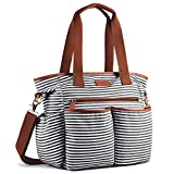 Plambag Canvas PU Baby Wickeltasche Mama Shopper Tasche mit Wickelunterlage(Schwarz-weiß Streifen)