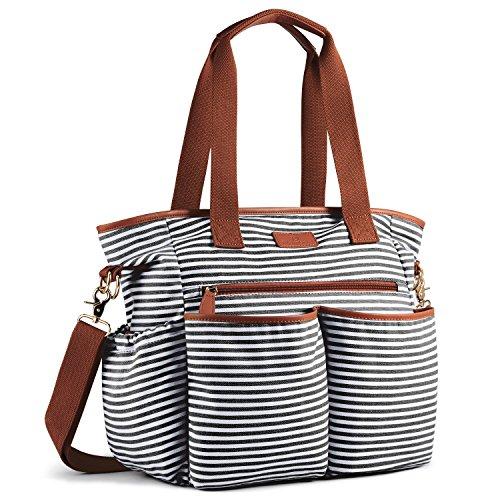 Streifen-buch-tasche (Plambag Canvas PU Baby Wickeltasche Mama Shopper Tasche mit Wickelunterlage(Schwarz-weiß Streifen))