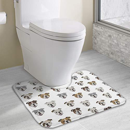 Werert Badezimmerteppich mit lustigem englischen Bulldoggen-Motiv, Rutschfest, weich, Memory-Schaumstoff, 50 x 40 cm, Polyester, weiß, Einheitsgröße