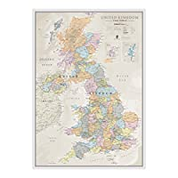 Maps International Classic UK Wall Map - Map Of The UK Poster - Front Lamination - A1, 84 x 59cm