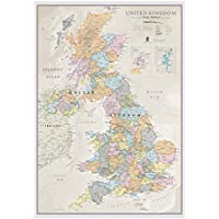 Maps International Classic UK Wall Map - Map Of The UK Poster - Front Lamination – A1, 84 x 59cm