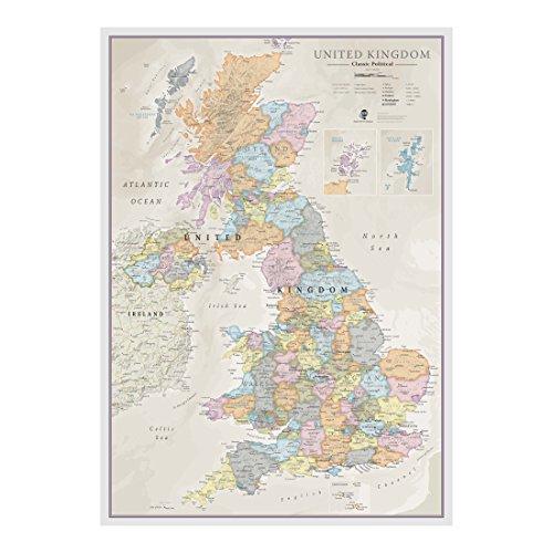 Carte classique Großbritannien - Stratification de la page de garde - 59,4 (L) x 84,1 (H) cm