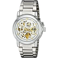 Orkina Mens White Skeleton Dial Quartz Automatic Stainless Steel Strap Wrist Watch MG015-SS