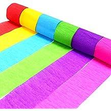 Coceca 24 rollos de papel crepe de cintas, 6 colores, pueden utilizar para diversas fiestas de cumpleaños, bodas, y otra decoración de vacaciones