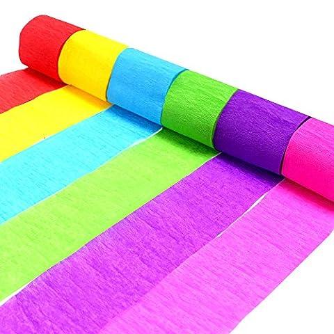 Coceca 24 Serpentin en Papier Crépon , 6 couleurs, peuvent être utilisés pour les décorations d'une variété de fêtes d'anniversaire, de mariage et des soirées des jours fériés