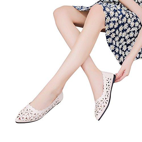 OSYARD Damen Frauen Loafers Ballerinas,Frauen Flache Schuhe Aushöhlen Blume Form Halbschuhe Lederschuhe Erbsenschuhe Hausschuhe Slippers Bequeme Slip-On Flat Freizeitschuhe,Größe 35-41