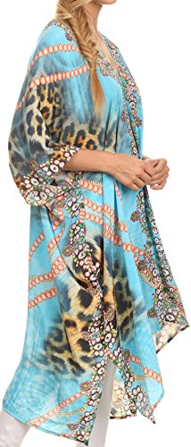 Sakkas Libra Robe Longue Caftan/Robe de plage avec Motif Tribal Strass et Col en V Turquoise / Orange