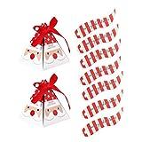 LIOOBO Confezione da 100 scatole Regalo Caramelle Natalizie Scatola Caramelle Piramide a Strisce Motivo Babbo Natale Confezioni Regalo Cioccolato