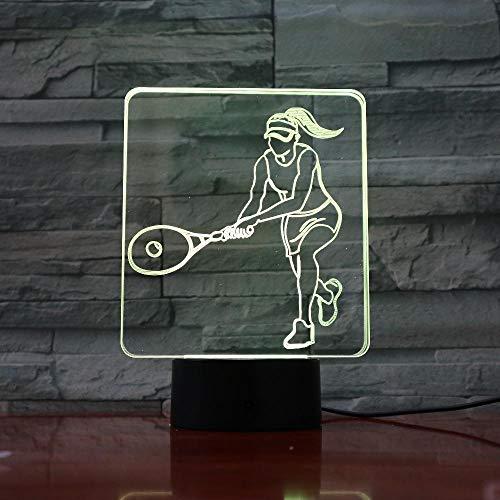 ARXYD Frauen Tennis 3D Farbwechsel Licht Lampe Kinder Tischlampe 7 Farbe Touch Fernbedienung Schalter Dekorative Lichter Weihnachten Geburtstagsgeschenk Nachtlicht -