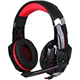 Auriculares Gaming para PS4 - iRush G9000 Cascos Gamer de Diadema con Micrófono de Cancelación de Ruido, Audifónos Gamer de Sonido Envolvente con 3,5MM Jack, Gaming Headset con Cable, LED Luz, Control del Volumen y una Tecla-Mute para Xbox one, PS4, PC, Portátil, Mac, iPad, iPod y Ordenador - Rojo y Negro