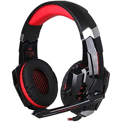 Auriculares PS4, iRush G9000 Auriculares Gaming Headset Estéreo para PS4/ PC/ Laptop/ Móvil/ Pad-con Micrófono Ajustable y Controlador de Volumen con una Tecla Mute (Rojo)